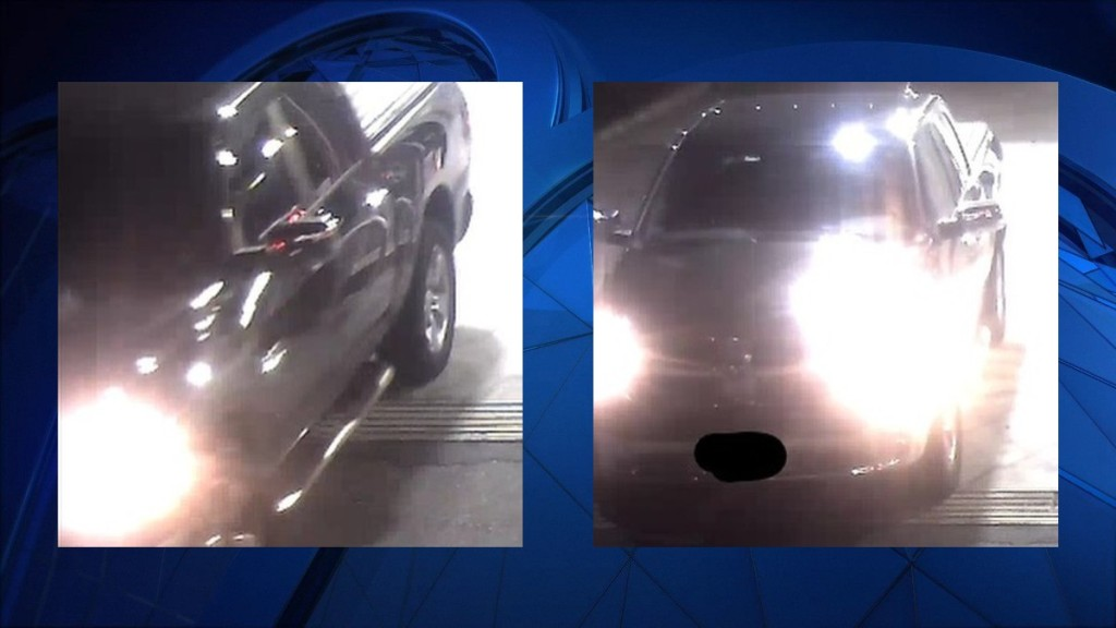 two surveillance images of a pickup truck