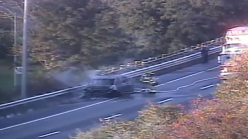 Fire on Interstate 95 in Stonington