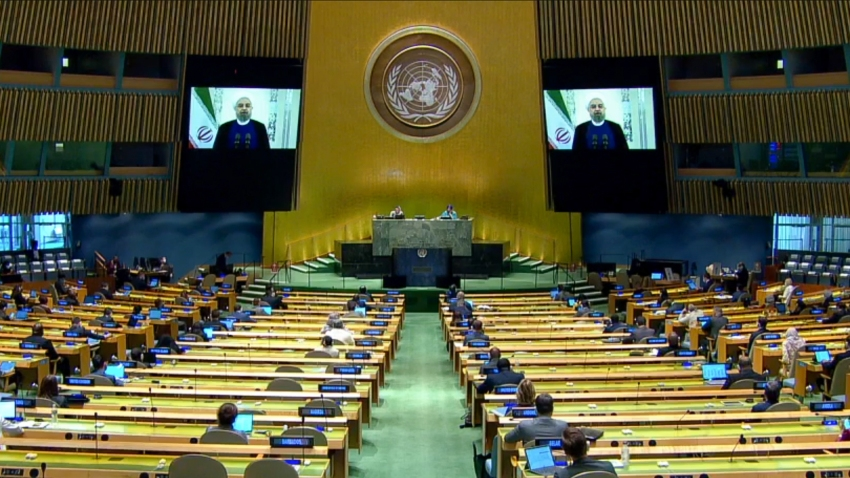 Iranian President Hassan Rouhani makes a pre-recorded video speech during the 75th session of the United Nations General Assembly, held online due to the novel coronavirus (COVID-19), in Tehran, Iran on September 22, 2020.