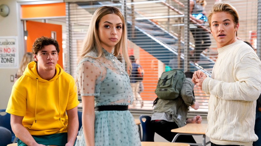 """In this photo from the """"Saved by the Bell"""" pilot episode is (l-r) Belmont Cameli as Jamie Spano, Josie Totah as Lexi, Mitchell Hoog as Mac Morris."""