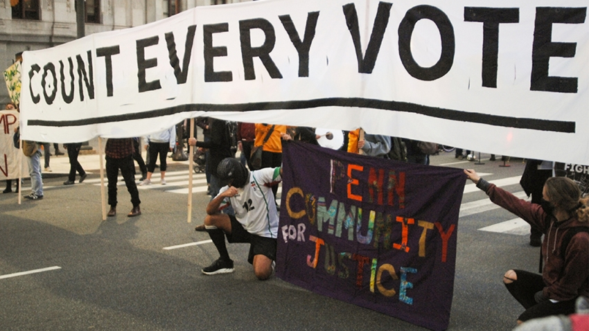 Activists in Philadelphia with a 'Count Every Vote' sign