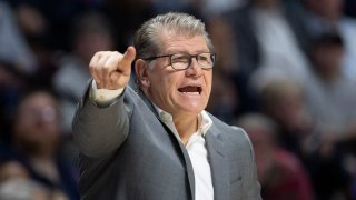 Head coach Geno Auriemma of the UConn Huskies during the American Athletic Conference women's basketball championship at Mohegan Sun Arena on March 9, 2020, in Uncasville, Connecticut.