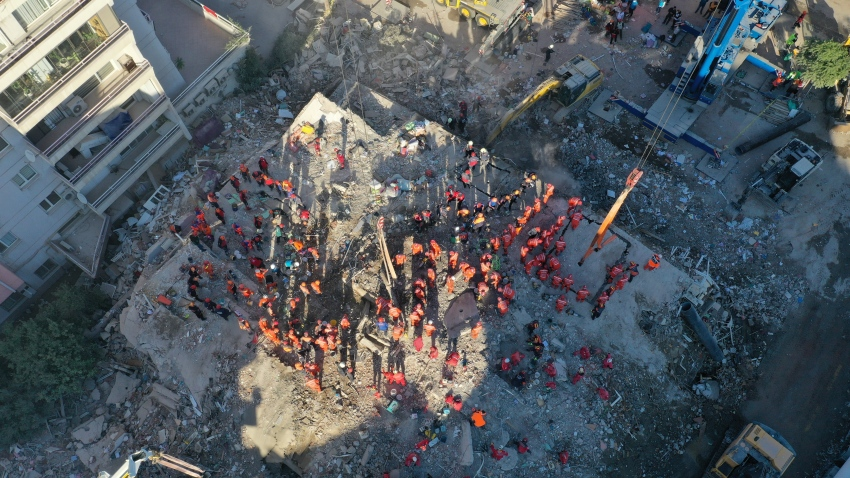 A drone photo shows an aerial view of search and rescue works in the morning hours at debris located in Bayrakli district after a magnitude 6.6 quake shook Turkey's Aegean Sea coast, in Izmir, Turkey on November 01, 2020.