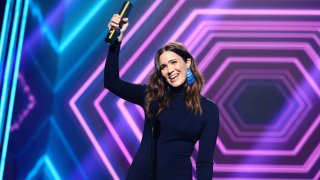 Mandy Moore, The Drama TV Star of 2020, accepts the award onstage for the 2020 E! People's Choice Awards held at the Barker Hangar in Santa Monica, California, and broadcast on Sunday, November 15, 2020.