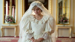 """This photo shows Emma Corrin playing Princess Diana in Season 4 of Netflix's series """"The Crown."""""""