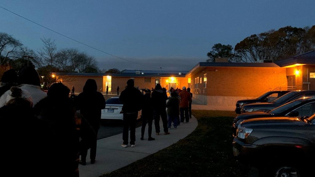 Voters line up in Milford