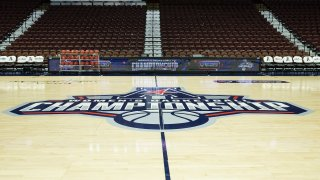 UNCASVILLE, CT - MARCH 08: General view of the American Conference Championship logo at center court prior to the game between USF Bulls and UConn Huskies on March 8, 2020, at Mohegan Sun Arena in Uncasville, CT.