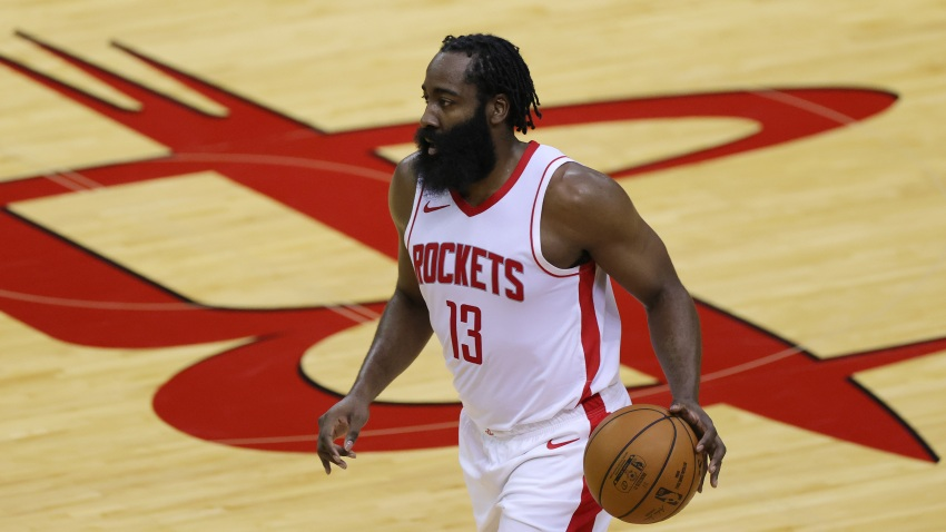 HOUSTON, TEXAS - DECEMBER 17: James Harden #13 of the Houston Rockets controls the ball during the second quarter of a game against the San Antonio Spurs at the Toyota Center on December 17, 2020 in Houston, Texas. NOTE TO USER: User expressly acknowledges and agrees that, by downloading and or using this photograph, User is consenting to the terms and conditions of the Getty Images License Agreement.