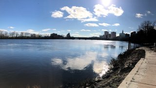 The Hartford skyline in the distance along the Connecticut River