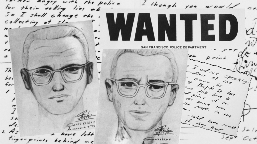 A photo illustration of documents pertaining to the Zodiac Killer.