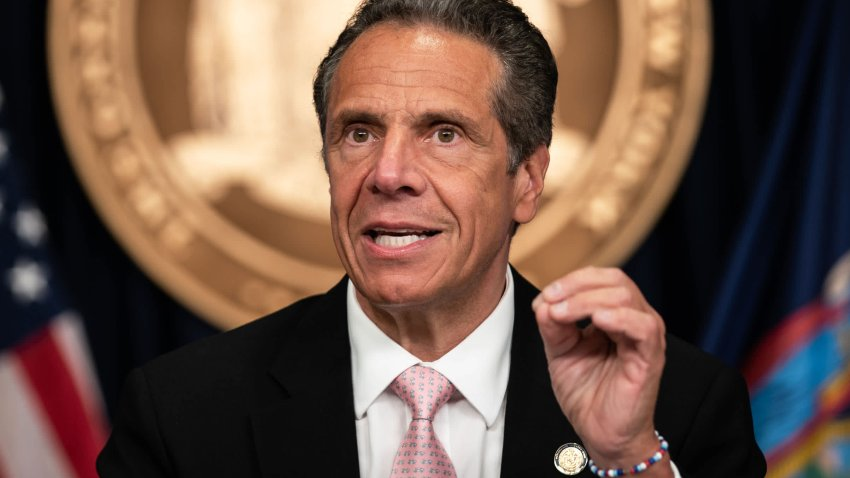 In this June 12, 2020, file photo, New York Gov. Andrew Cuomo speaks during the daily media briefing at the Office of the Governor of the State of New York in New York City.