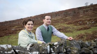 """This image released by PBS shows Rachel Shenton and Nicholas Ralph, right, in a scene from """"All Creatures Great and Small on MASTERPIECE."""""""