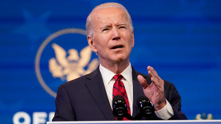 In this Jan. 15, 2021, file photo, President-elect Joe Biden speaks during an event at The Queen theater in Wilmington, Delaware.