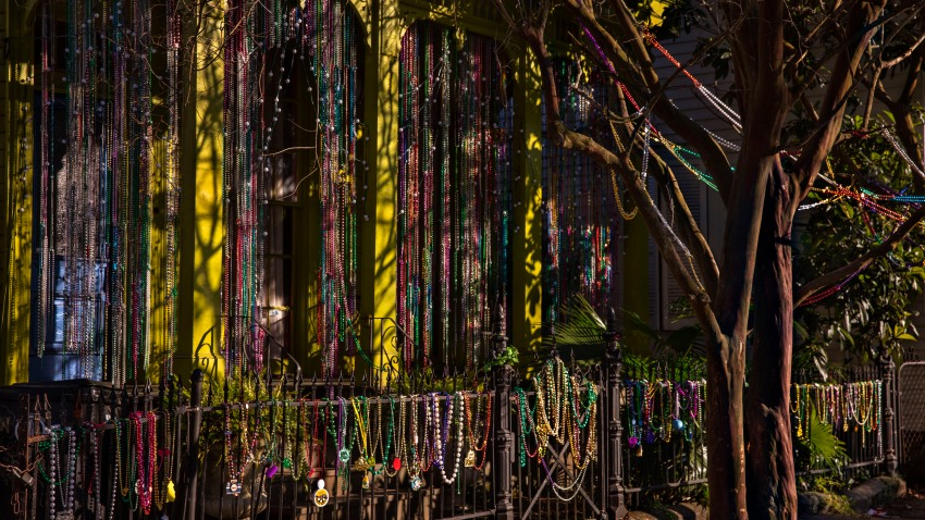 a house in Bywater festooned with beads during Mardi Gras in New Orleans, Louisiana.