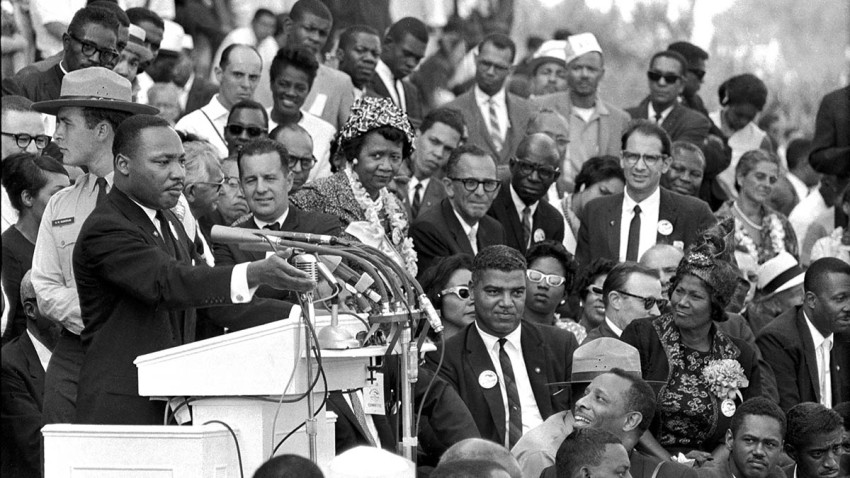 "FILE - In this Aug. 28, 1963 file photo, the Rev. Dr. Martin Luther King Jr., head of the Southern Christian Leadership Conference, speaks to thousands during his ""I Have a Dream"" speech in front of the Lincoln Memorial for the March on Washington for Jobs and Freedom, in Washington."