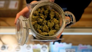 An person holds a jar of marijuana