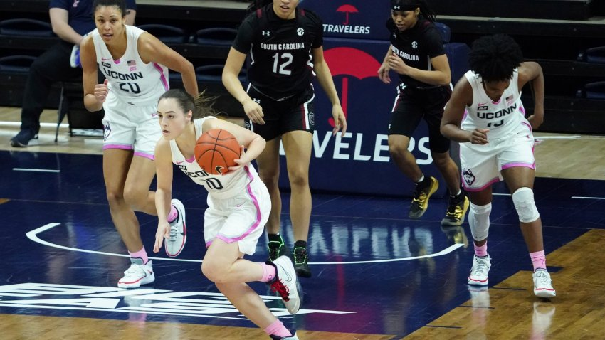 Connecticut guard Nika Muhl (10) in the first half of an NCAA college basketball game against South Carolina in Storrs, Conn., Monday, Feb. 8, 2021.