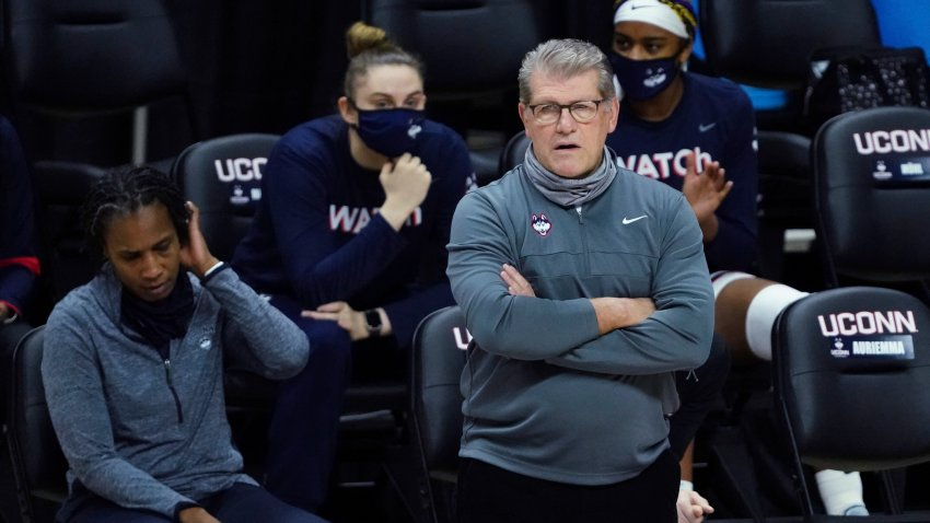 Connecticut coach Geno Auriemma watches from the sideline during the first half of the team's NCAA college basketball game against Seton Hall, Feb. 10, 2021, in Storrs, Connecticut.