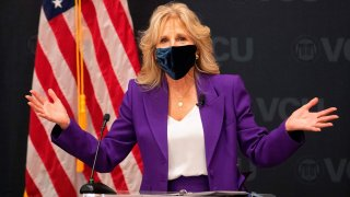In this Feb. 24, 2021, file photo, first lady Jill Biden speaks before a panel discussion on cancer research and care at the Massey Cancer Center at Virginia Commonwealth University in Richmond, Virginia.