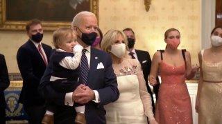 (L-R) Beau Biden, President Joe Biden, and Dr. Jill Biden