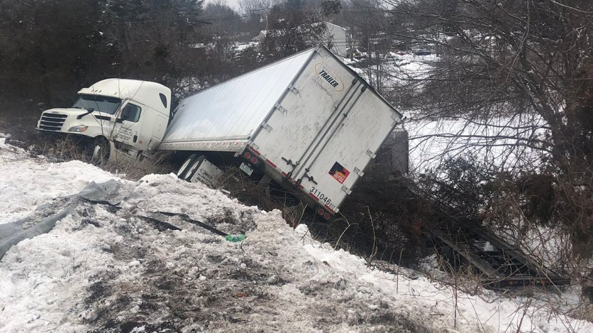 Truck off Interstate 91 in Wallingford