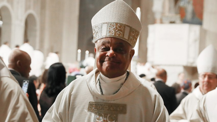 In this May 21, 2019, file photo, new Archbishop of Washington, Wilton D. Gregory, participates in his Installation mass at the National Shrine of the Immaculate Conception in Washington, D.C.
