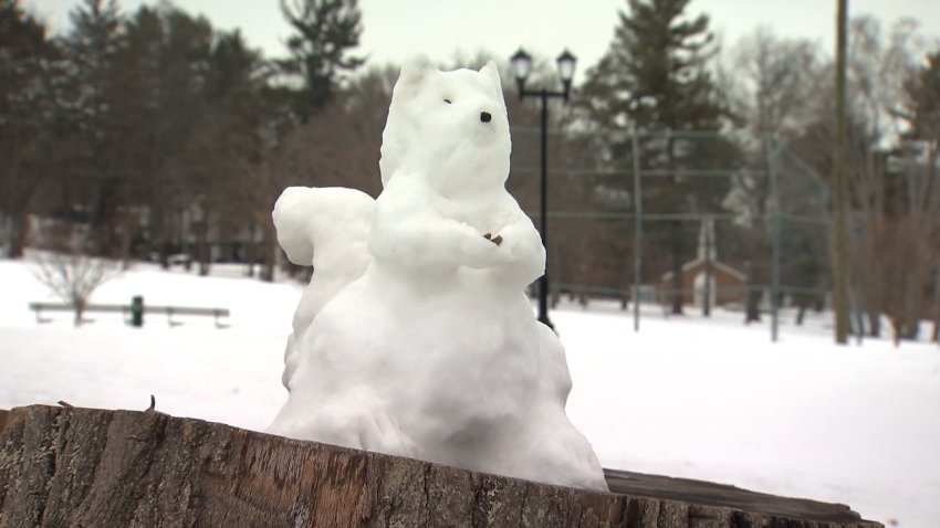 snow sculpture in the shape of a squirrel