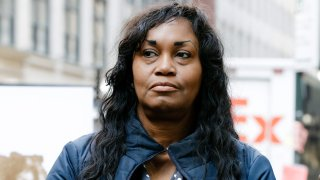 "Tamara Lanier attends a news conference near the Harvard Club, in New York, March 20, 2019. Lanier, of Norwich, Conn., is suing Harvard University for ""wrongful seizure, possession and expropriation"" of images she says depict two of her ancestors."