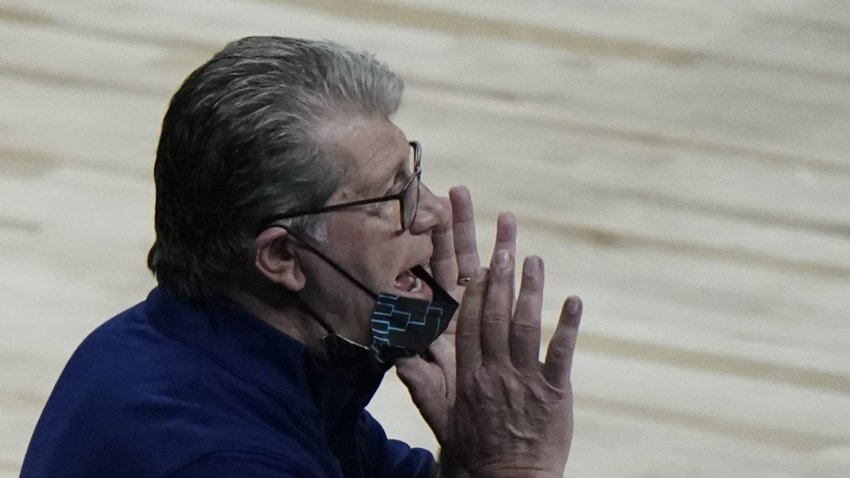 UConn head coach Geno Auriemma yells to his players during the second half of an NCAA college basketball game against Iowa in the Sweet 16 round of the Women's NCAA tournament Saturday, March 27, 2021, at the Alamodome in San Antonio.