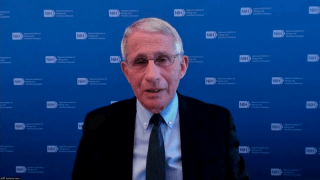 Dr. Anthony Fauci gives an update on the COVID-19 pandemic through a video call