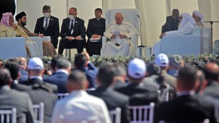 Pope Francis speaks during an interfaith service with many of Iraq's religious minorities in attendance, at the House of Abraham in the ancient city of Ur in southern Iraq's Dhi Qar province, on March 6, 2021.