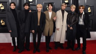BTS arrives at the 62nd annual Grammy Awards in Los Angeles on Jan. 26, 2020.