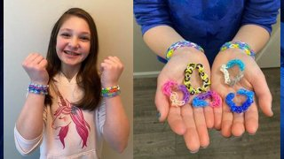 Arabella Helmer and the bracelets she makes to honor her late grandmother