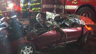 Car after crash on Merritt Parkway in Norwalk