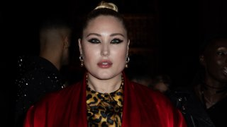In this Sept. 16, 2019, file photo, model Hayley Hasselhoff poses for photographers ahead of the Julien Macdonald Spring/Summer 2020 fashion week runway show in London.