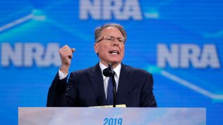 FILE - In this April 26, 2019, file photo, the National Rifle Association's Wayne LaPierre speaks at the association's Institute for Legislative Action Leadership Forum at Lucas Oil Stadium in Indianapolis.