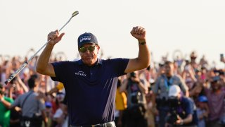 Phil Mickelson celebrates after winning the final round at the PGA Championship golf tournament on the Ocean Course, Sunday, May 23, 2021, in Kiawah Island, South Carolina.