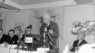 Dr. Albert Einstein, 71-year-old scientist, makes one of his rare public appearances as he speaks at the first national conference of the American committee for the Hebrew university, Weizmann Institute of Science, and Technion in Princeton, New Jersey on May 9, 1955. Speaking before 300 Jewish community leaders from the U.S. and Canada, the famed physicist urged support for schools of higher learning in Israel as institutions where those that are Jewish will always be welcome.