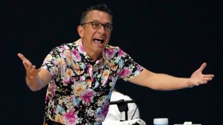 In this Sept. 27, 2020, file photo, Connecticut Sun head coach Curt Miller questions a foul call against the Las Vegas Aces during the first half of Game 4 of a WNBA basketball semifinal round playoff series in Bradenton, Florida.