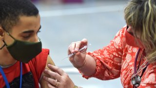 Students get Pfizer vaccine in Delaware County, PA.