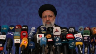 Iran's new President-elect Ebrahim Raisi speaks during a press conference in Tehran, Iran, Monday, June 21, 2021.