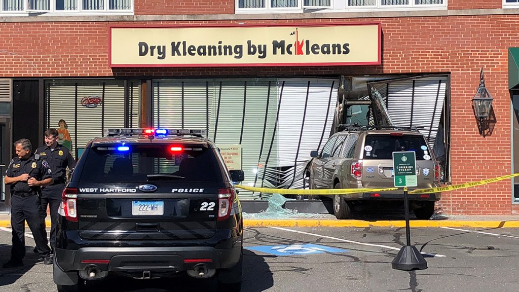 Vehicle hits Dry Kleaning by McKleans in West Hartford