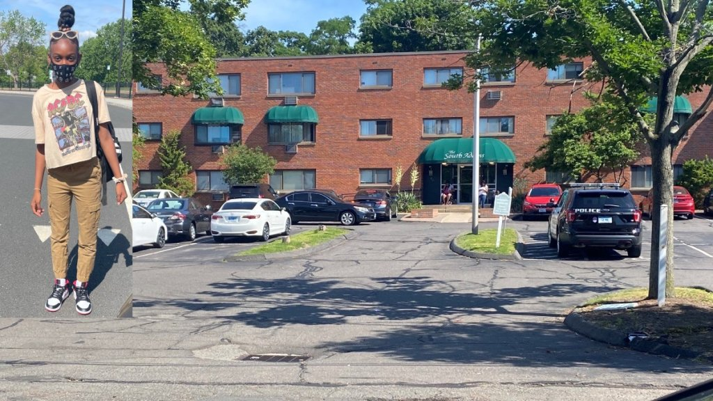 Photo of Zaniya Wright and the apartment complex where she was found dead