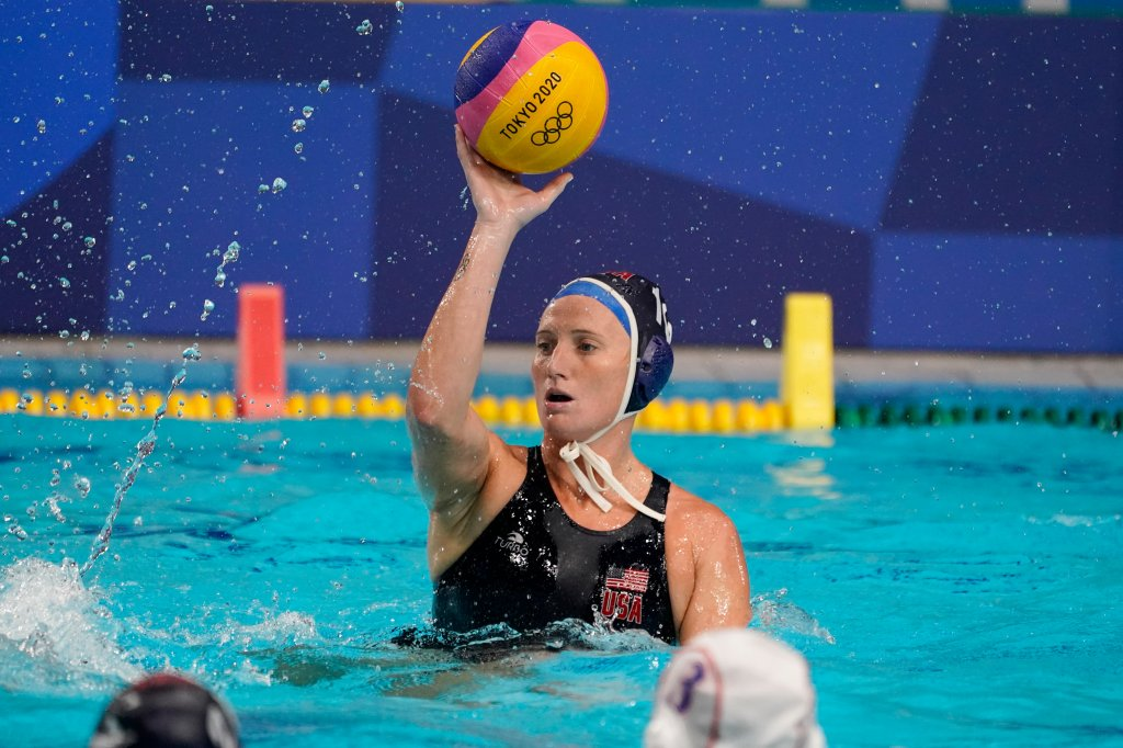 United States' Kaleigh Gilchrist plays against Japan during a preliminary round women's water polo match at the 2020 Summer Olympics, Saturday, July 24, 2021, in Tokyo, Japan.