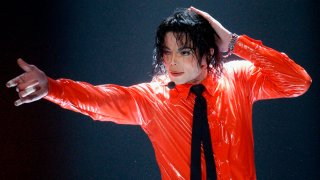 """Michael Jackson performs """"Dangerous"""" during the taping of the American Bandstand's 50th anniversary show"""