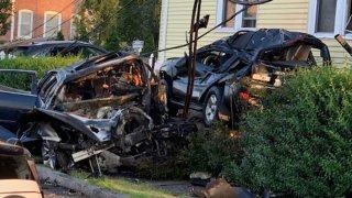 Vehicle destroyed in crash in West Hartford
