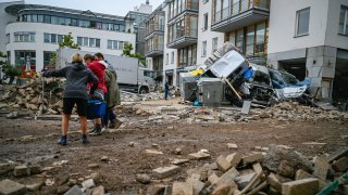 Streets and residences damaged by the flooding of the Ahr River are seen on July 16, 2021 in Bad Neuenahr - Ahrweiler, Germany.