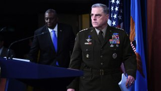 US Defense Secretary Lloyd Austin (L) and Chairman of the Joint Chiefs of Staff, General Mark Milley, hold a press conference on July 21, 2021, at The Pentagon in Washington, DC.