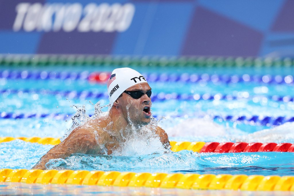 Michael Andrew of Team United States competes in heat five of the Men's 100m Breaststroke on day one of the Tokyo 2020 Olympic Games at Tokyo Aquatics Centre on July 24, 2021 in Tokyo, Japan.
