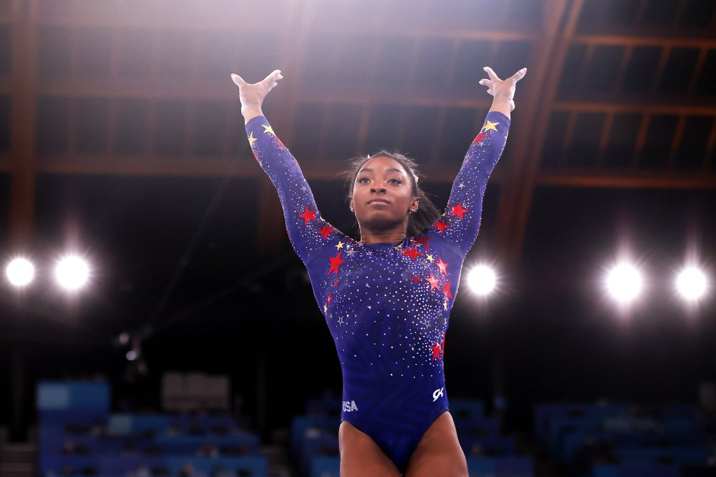 Simone Biles of Team United States competes on vault during Women's Qualification on day two of the Tokyo 2020 Olympic Games